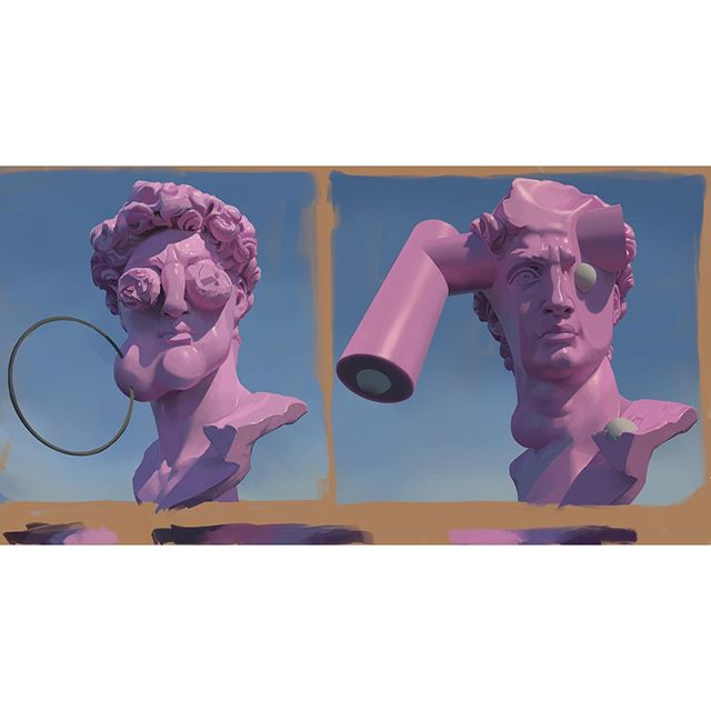 Two Busts of David with Adjustments- iPad painting sketch - 2019