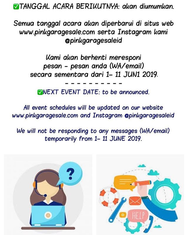✅NEXT EVENT DATE: to be announced.  All event schedules will be updated on our website www.pinkgaragesale.com and Instagram @pinkgaragesaleid  We will not be responding to any messages (WA/email) temporarily from 1– 11 JUNE 2019.