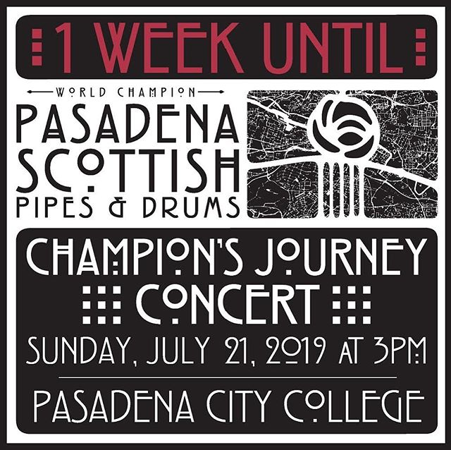 One week until our concert! Link for tickets in bio. Tickets are limited so make sure you grab yours before they sell out! . . . . . #pasadenascots2019 #pasadenascots #macleodeale #pipesanddrums #pipebands #bagpipes #scottish #highlanding #highlandgames #tenordrumming #snaredrumming #pasadena #wspba #scotland  #pride #pasadenacitycollege #pasadenacalifornia #concerts #livemusic