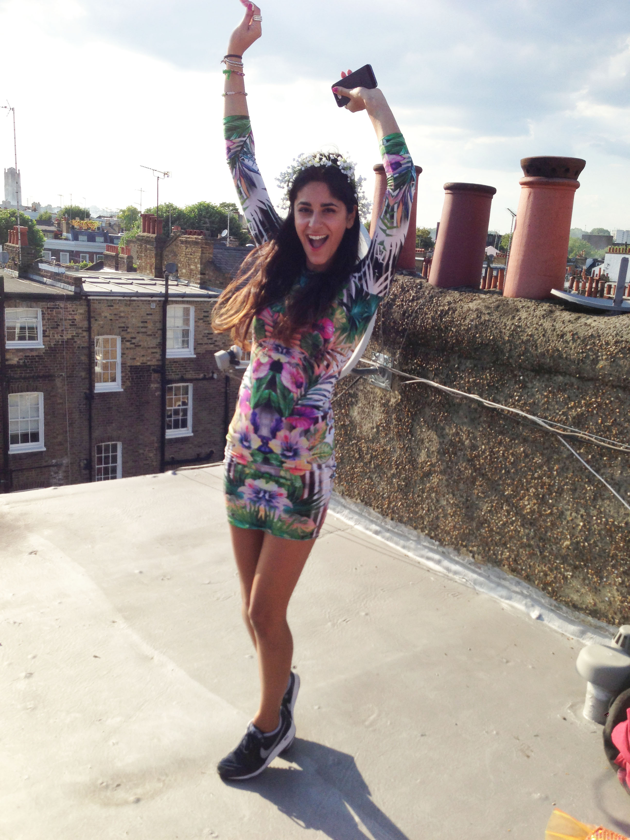 Here's me on the roof before the party!