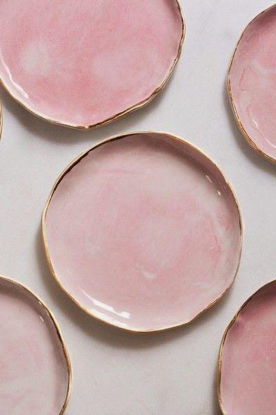 Millennial Pink plates rose gold trim handmade.jpg