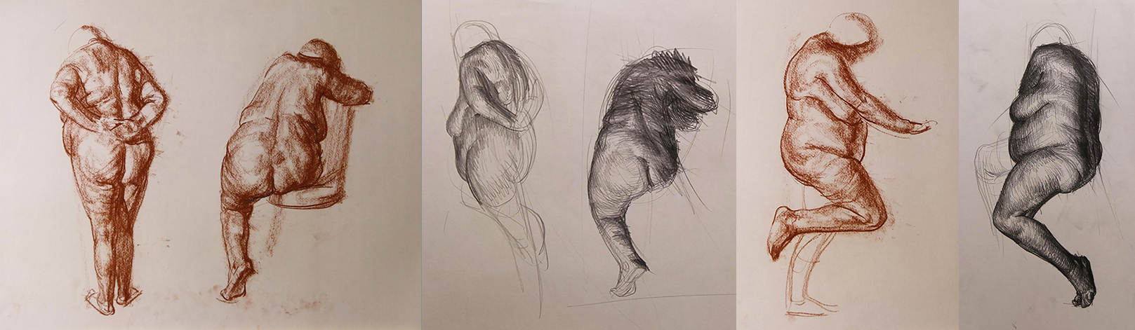 Studies from life model for the floating figure- giving myself options to choose from later on