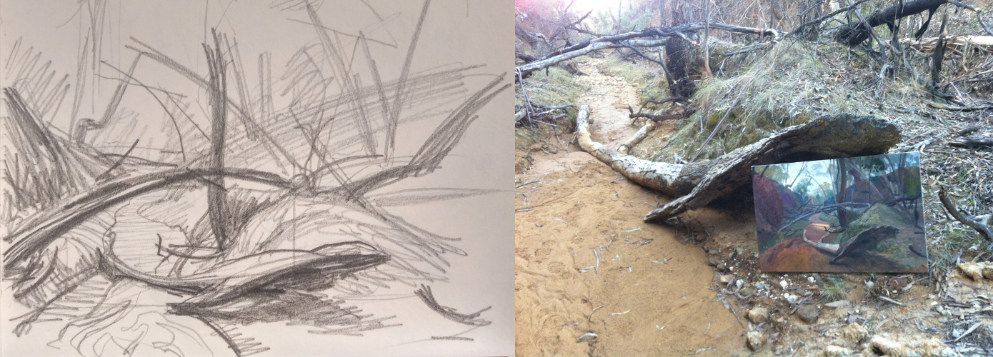 First thumbnail for the Golden Gully painting.  On the right is the early block-in stage, as I stand in a dry creek bed.