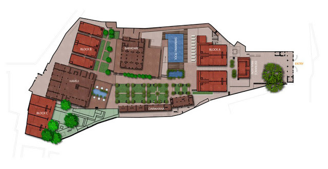 New site plan for Raas hotel with new buildings added into heritage compound.