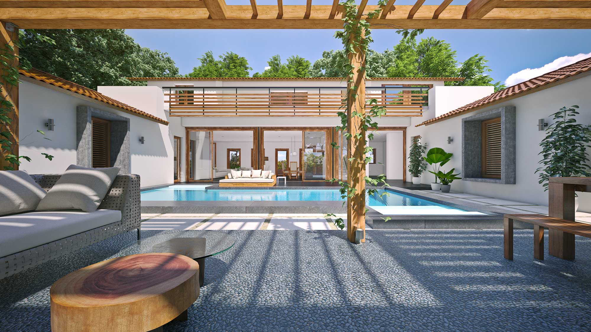 Rendered View of the courtyard at Navovado with the swimming pool and the living room