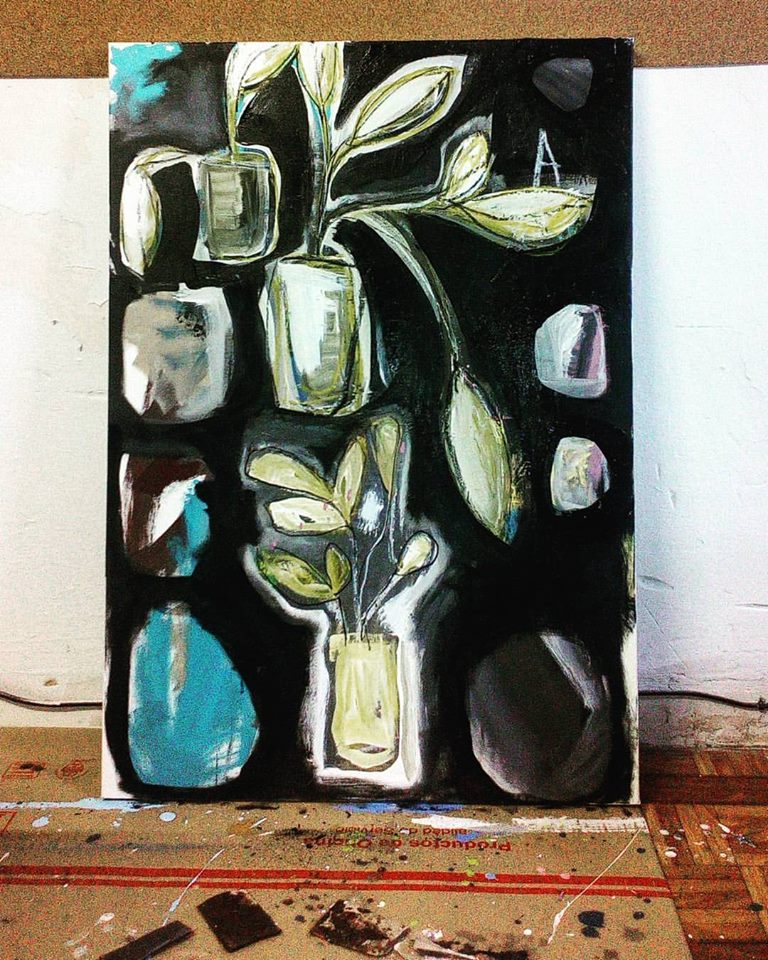 Plants living on black , 2016, mixed media on canvas, 105x70cm