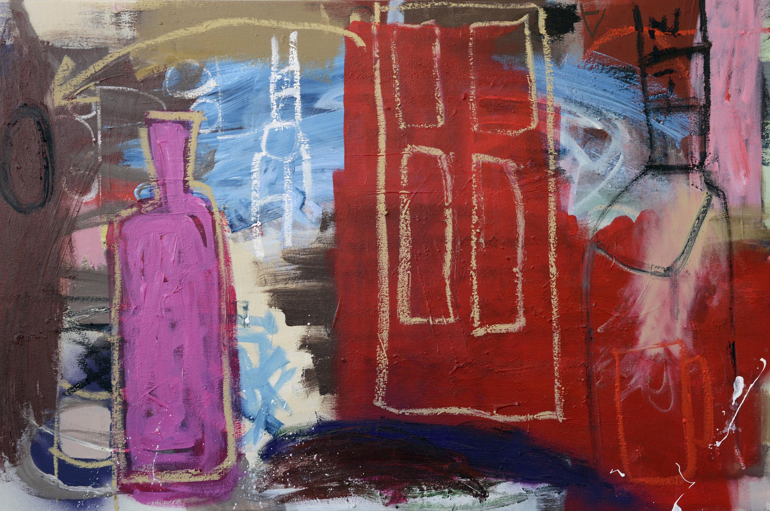 Red still life , 2014, mixed media on canvas, 61x94cm