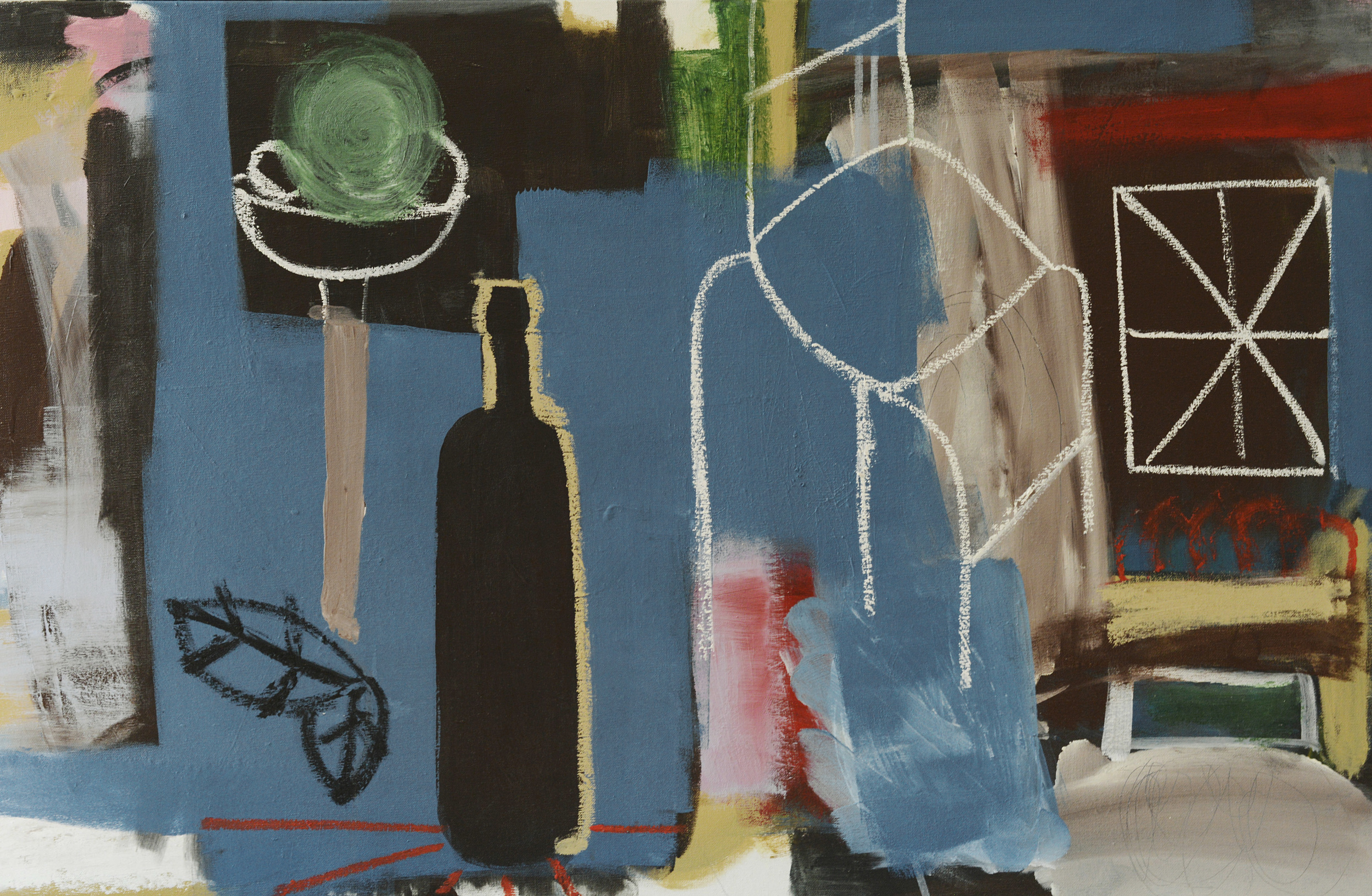 Blue still life , 2014, acrylic and oil stick on canvas, 61x94cm