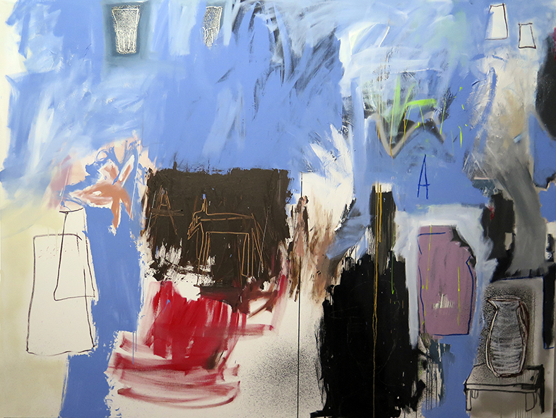 Blue, a dog and some other things , 2016, mixed media on canvas, 150x200cm