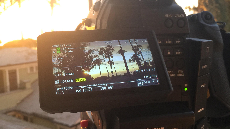 Filming the sunset over Santa Monica beach