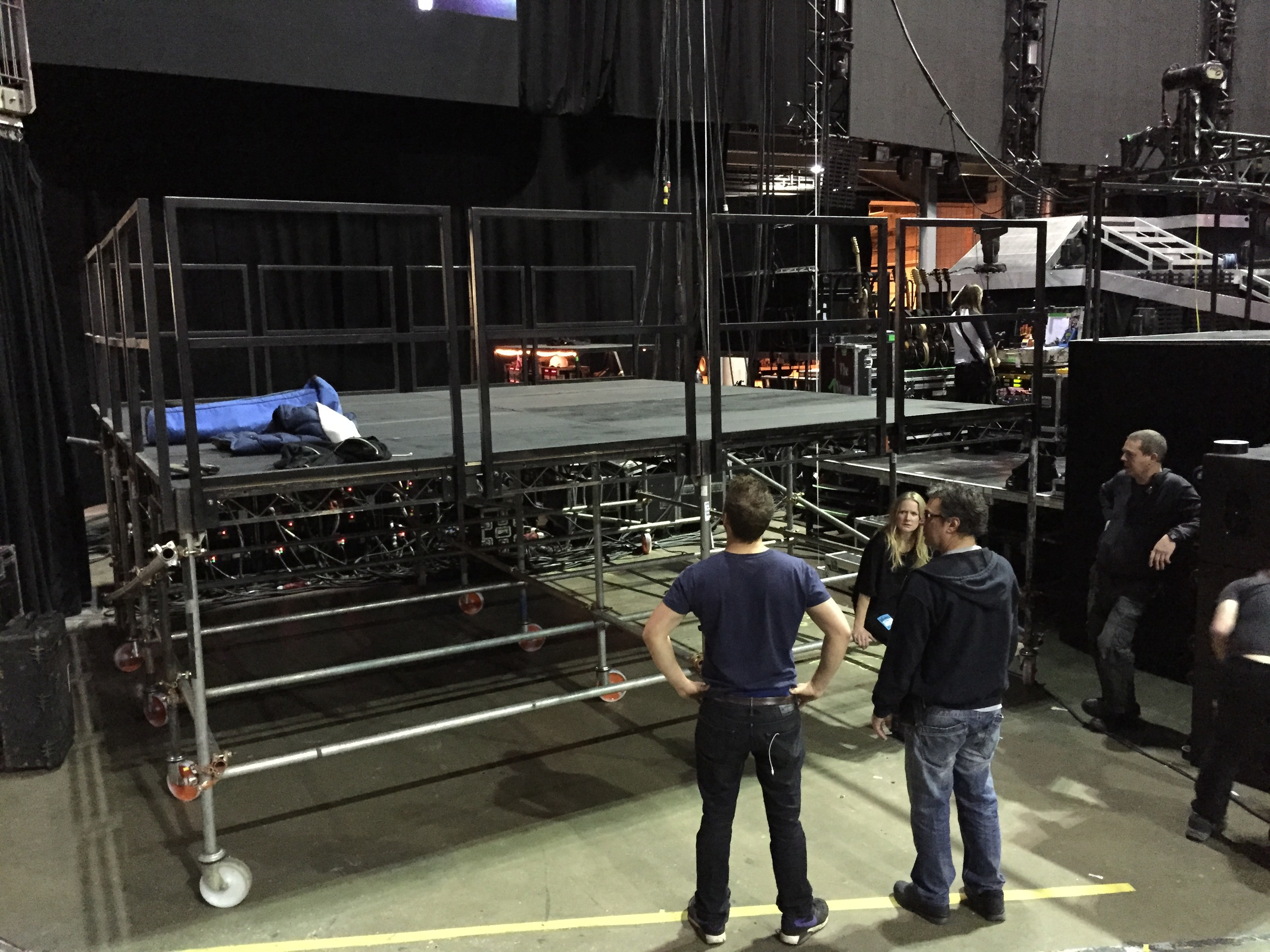Jib platform in place next to the stage at the O2 Arena. Pictures are my Producer Amy James, DOP Nick Wheeler our stage manager and a ' grip '.
