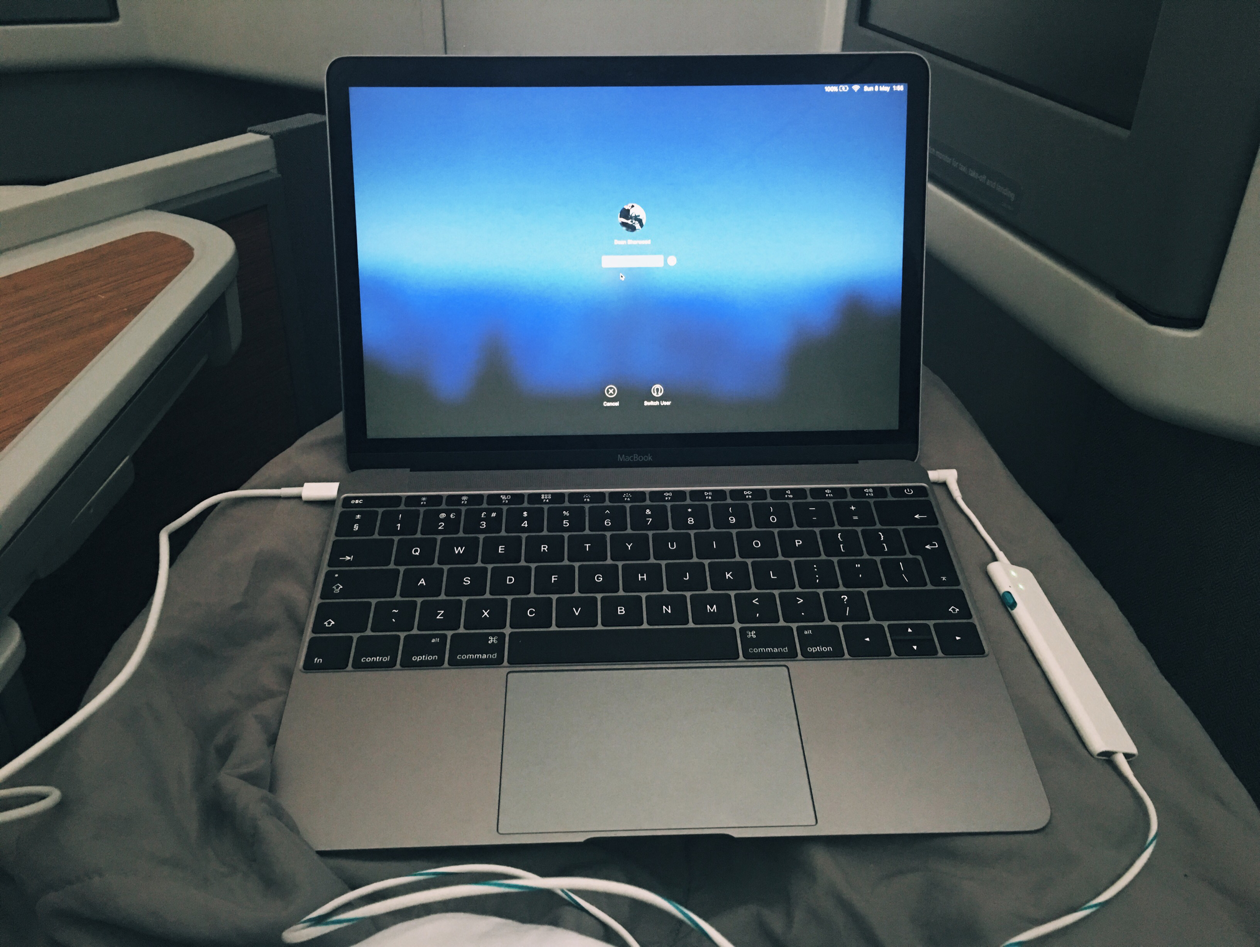 A little bit of work on the flight to Peru, all tucked up of course.