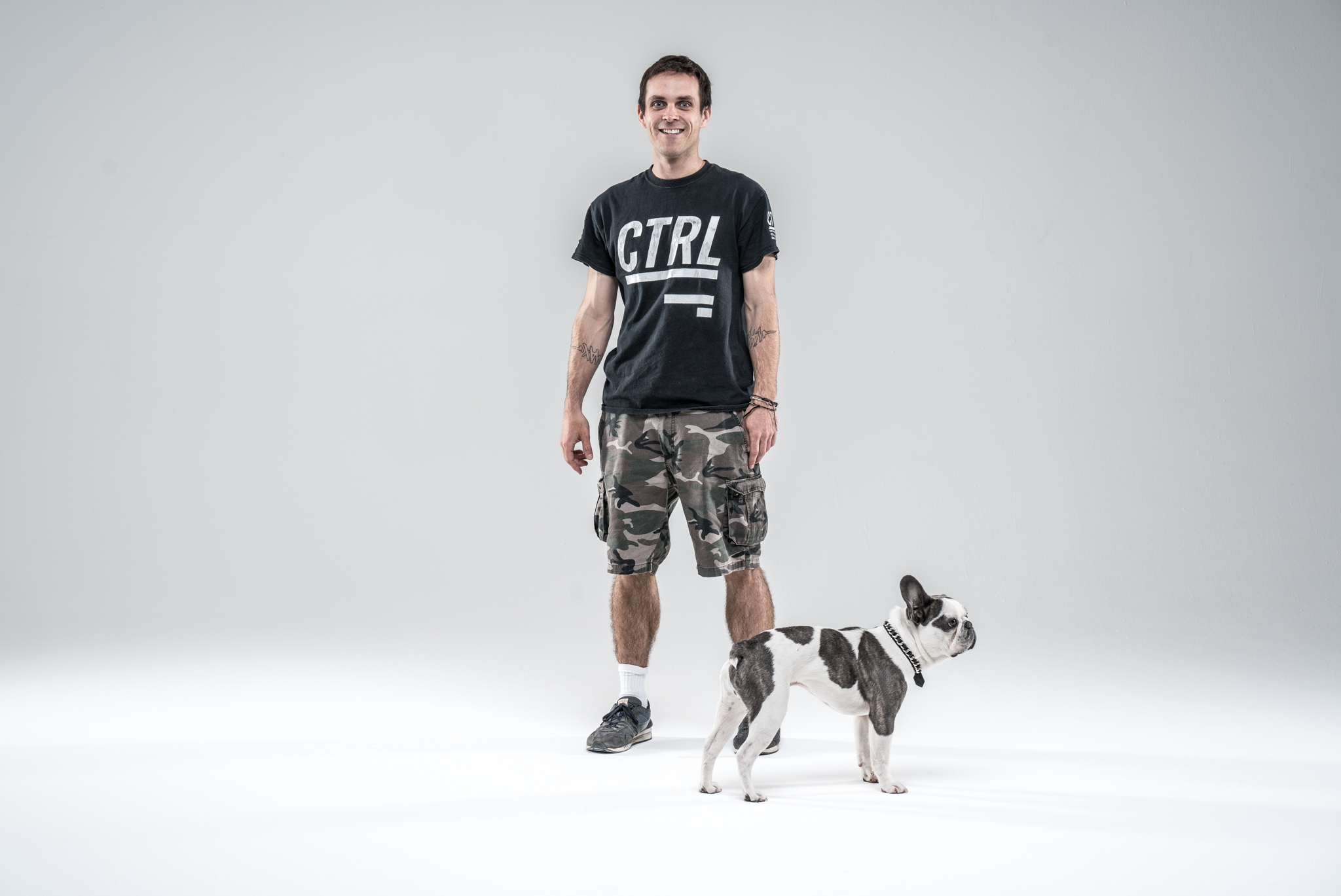 My lighting grip, Ben, stepping in for a test shot before the band arrive, and our on set Frenchie for the day, Maurice.