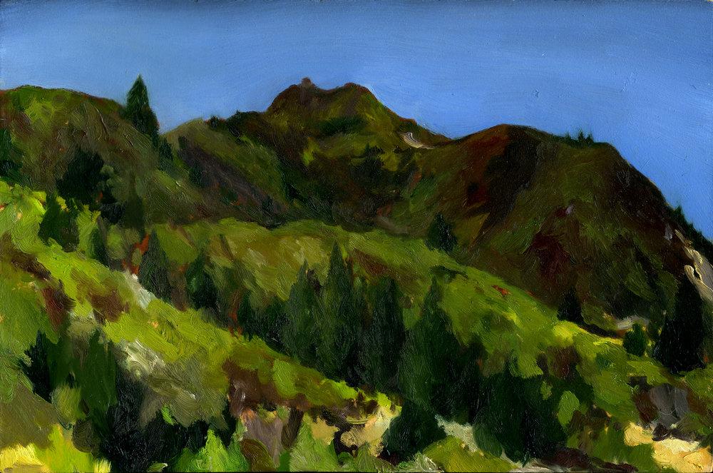 "Mt. Tamalpais from Mountain Home Inn  Oil on panel 8"" x 12"" 2017"