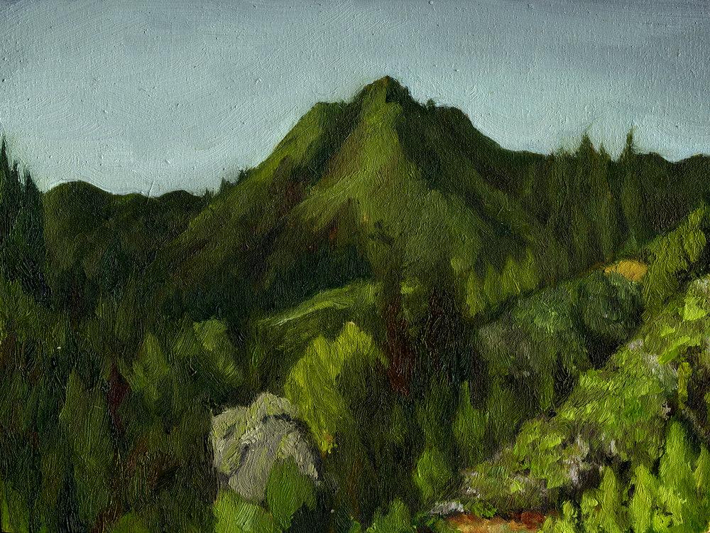 "Mt. Tamalpais from Myrtle Ave  Oil on panel 4.5"" x 6"" 2016"