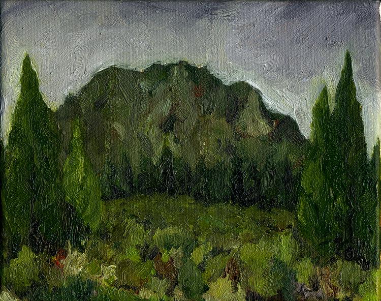 "Mt. Tamalpais near Old Railroad Grade  Oil on canvas 4"" x 5"" 2016"