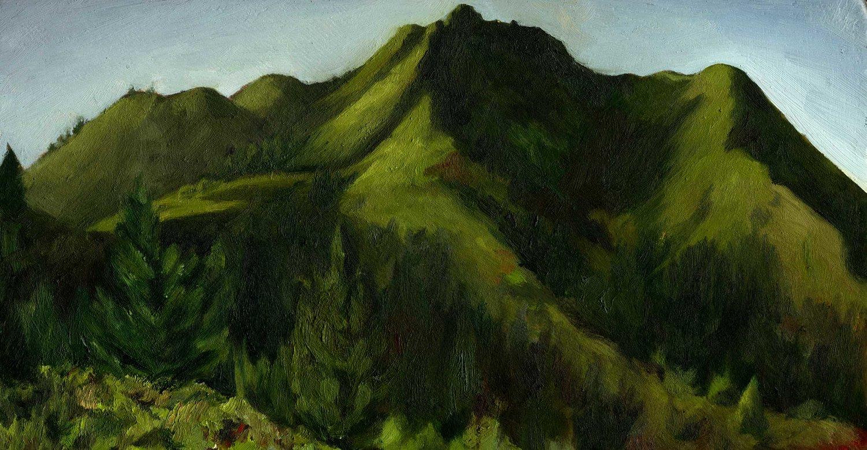 """Mt. Tamalpais from Old Railroad Grade  Oil on panel 10"""" x 6"""" 2016"""