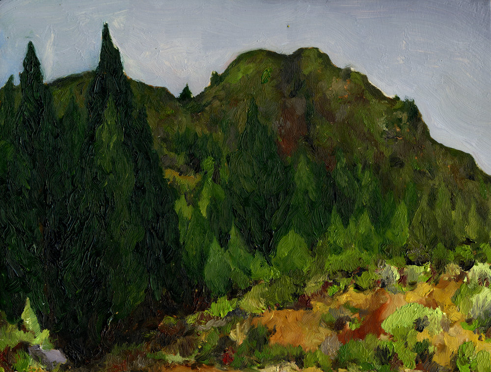 "Mt. Tamalpais from Gravity Car Road #2  Oil on panel 6.5"" x 8.5"" 2016"