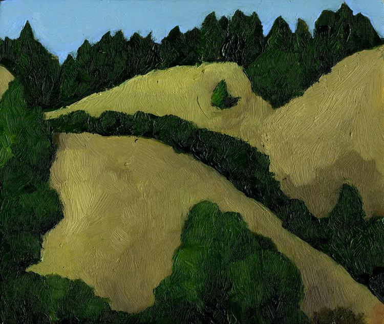 "Bolinas Ridge October  Oil on panel 5"" x 6"" 2016"