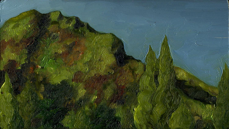 "Mt. Tamalpais from Double Bow Knot   Oil on panel  4"" x 7"" 2016"