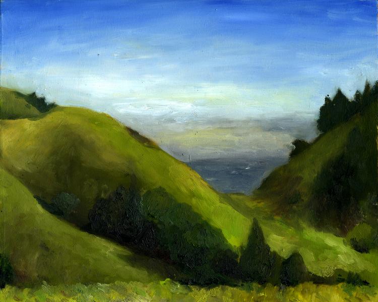 "Bolinas Ridge February   Oil on panel  8"" x 10"" 2016"