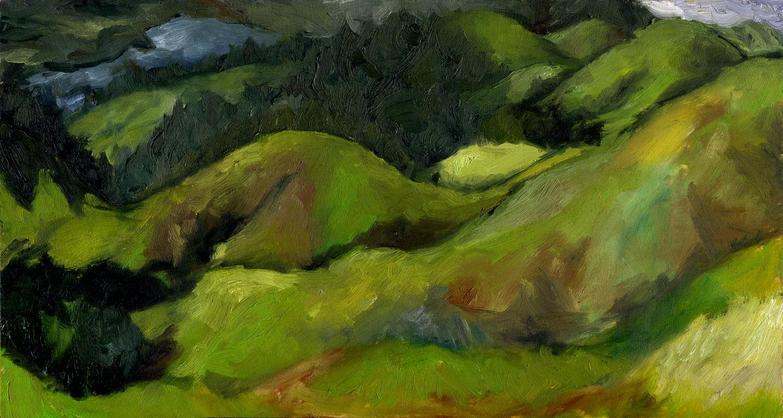 "Bolinas Ridge December  Oil on panel  7"" x 13"" 2014"