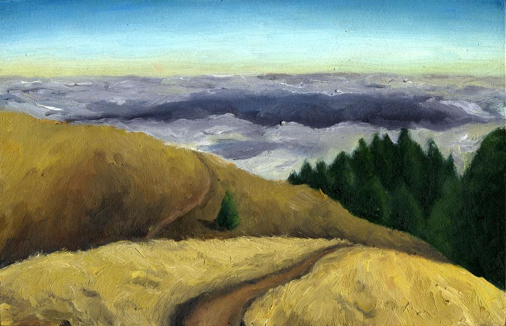 "Bolinas Ridge Summer  Oil on panel  2.5"" x 3.5"" 2014"