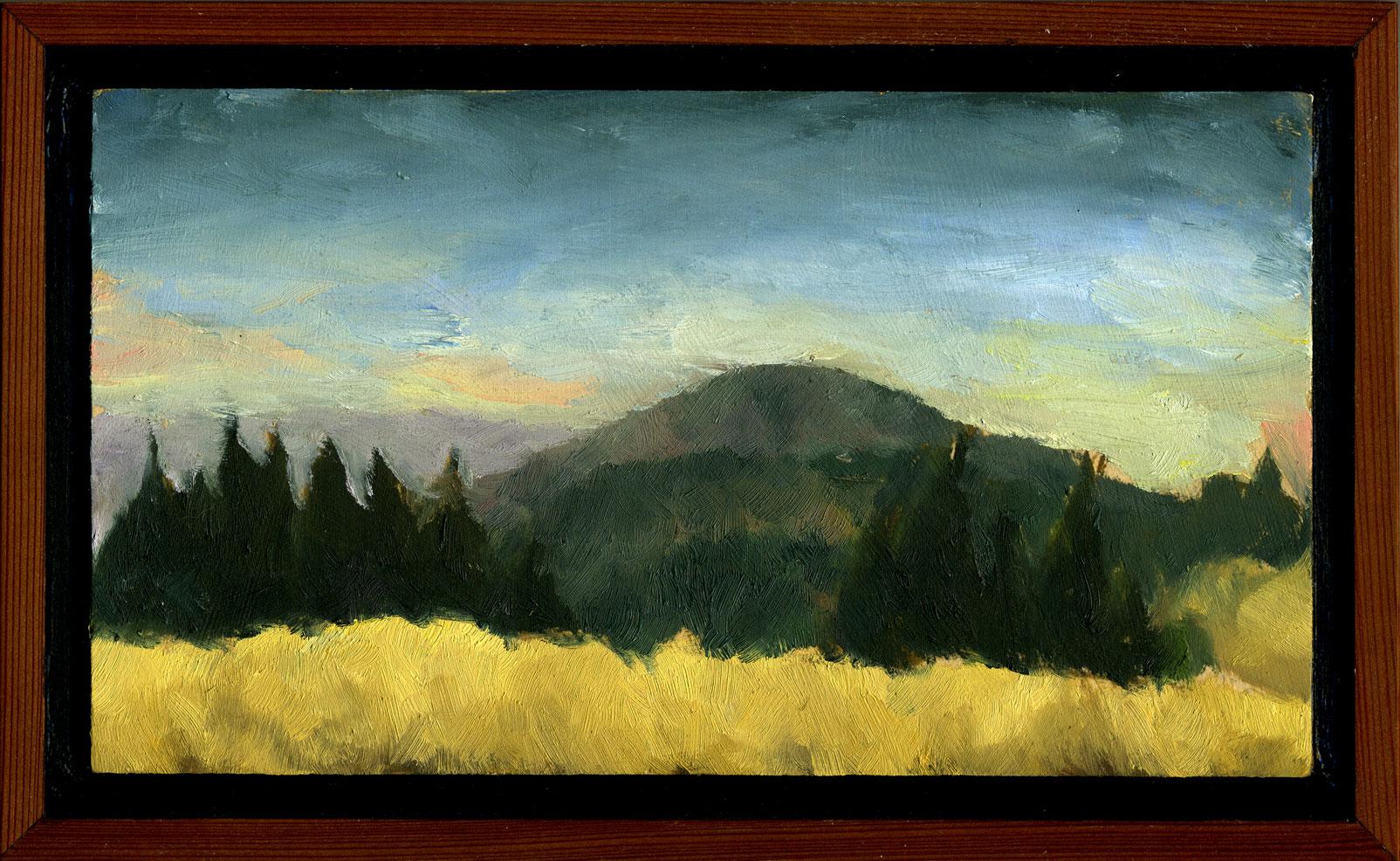 """Bolinas Ridge Summer Sunset  Oil on panel 5.5"""" x 9.5"""" 2011"""