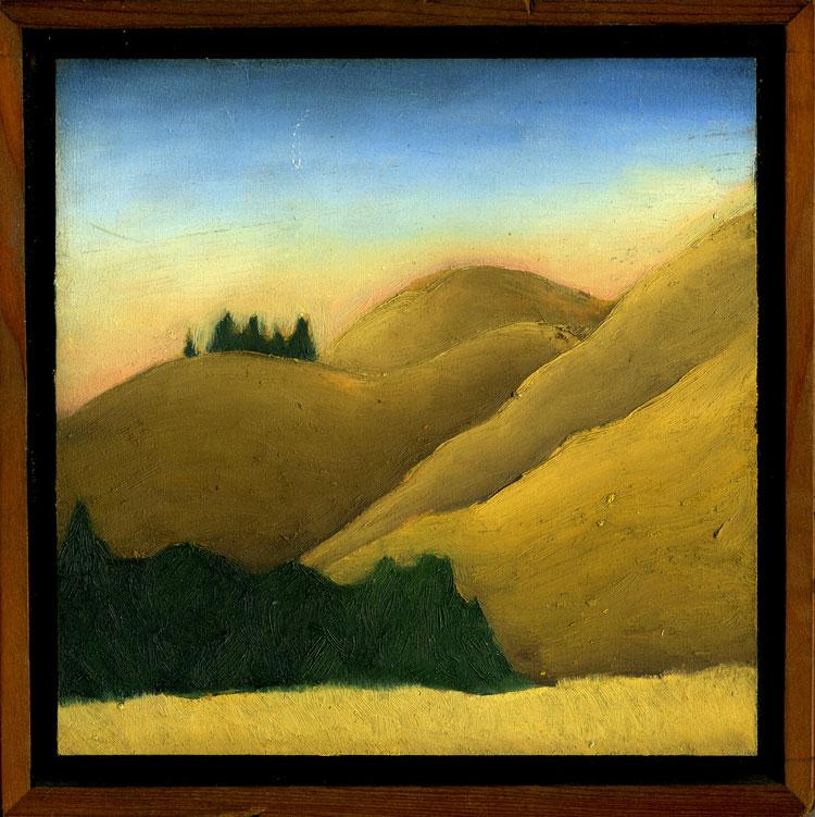 "Bolinas Ridge #4  Oil on panel 6"" x 6"" 2009"
