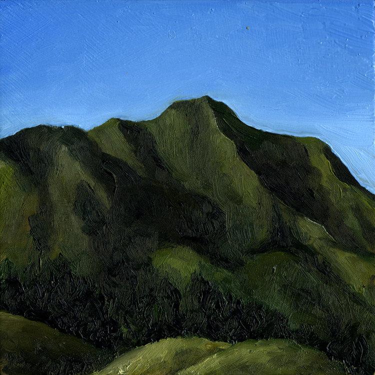 "Mt. Tamalpais from Four Corners #2  Oil on panel 6"" x 6"" 2016"