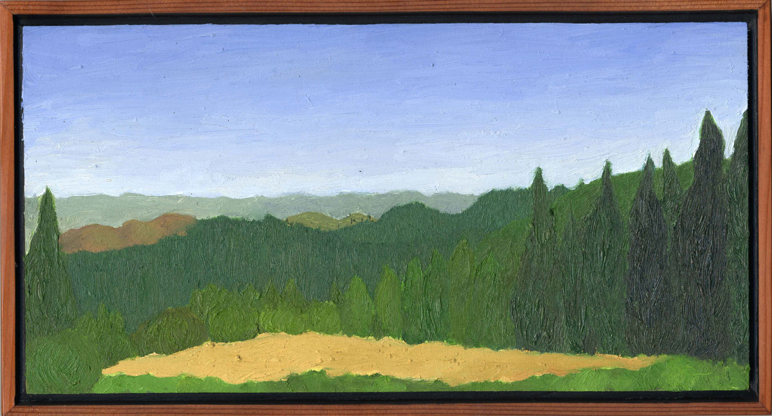 """Old Railroad Grade Late Summer  Oil on panel 7"""" x 13"""" 2008"""