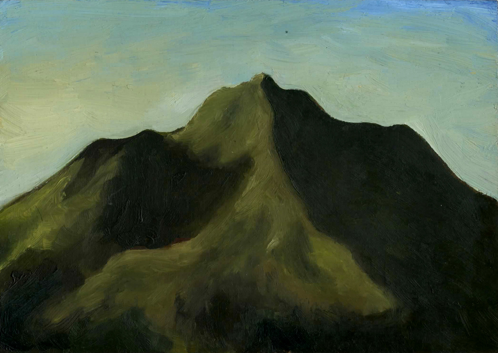 """Mt. Tamalpais from Fern Canyon Road  Oil on panel 2.5"""" x 3.5"""" 2012"""