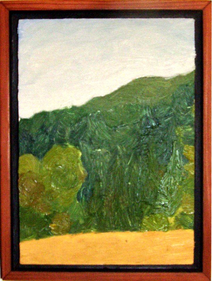"""Near Top of Tamalpais Ave  Oil on panel 5"""" x 7"""" 2008"""