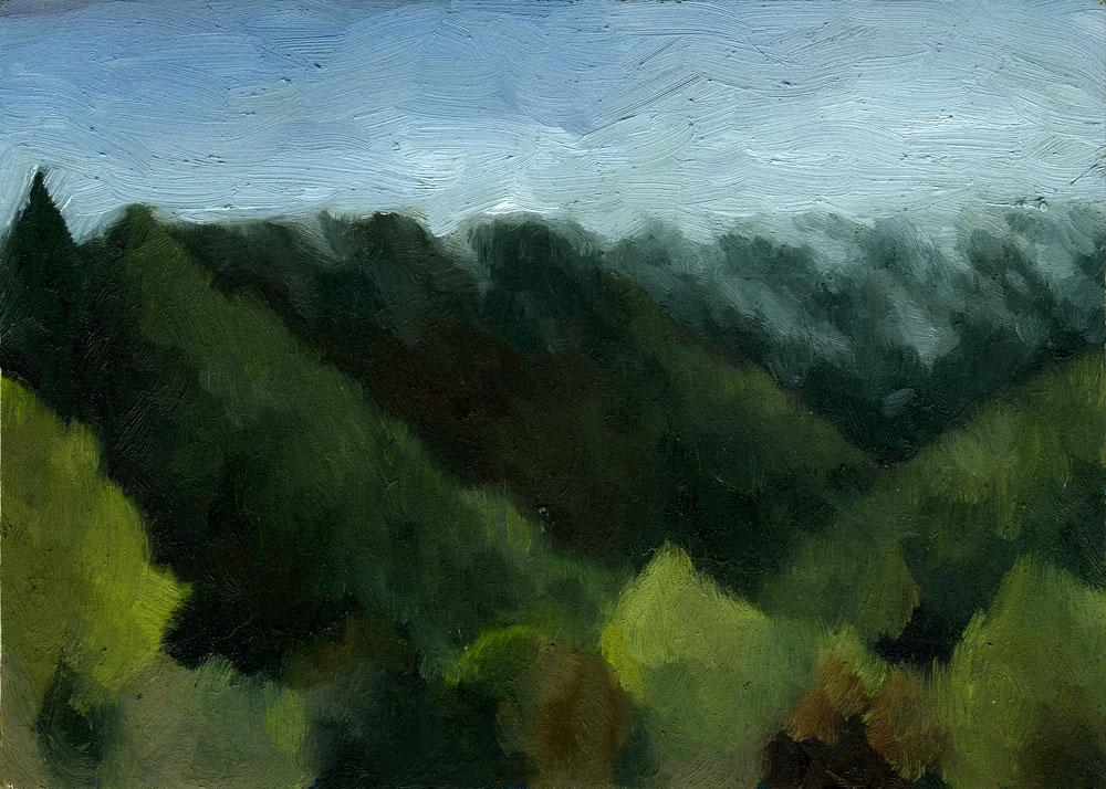 "Fog Rolling In   Oil on panel 7"" x 5"" 2011"