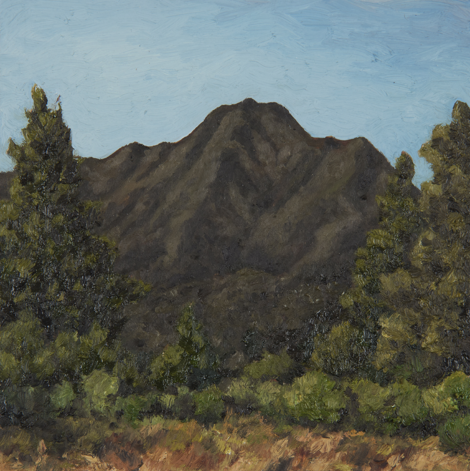 "Mt. Tamalpais from Camino Alto Fire Rd  Oil on panel 6"" x 6"" 2018"