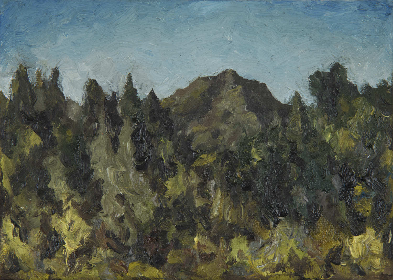 "Mt. Tamalpais from end of Tamalpais Ave  Oil on canvas 5"" x 7"" 2018"