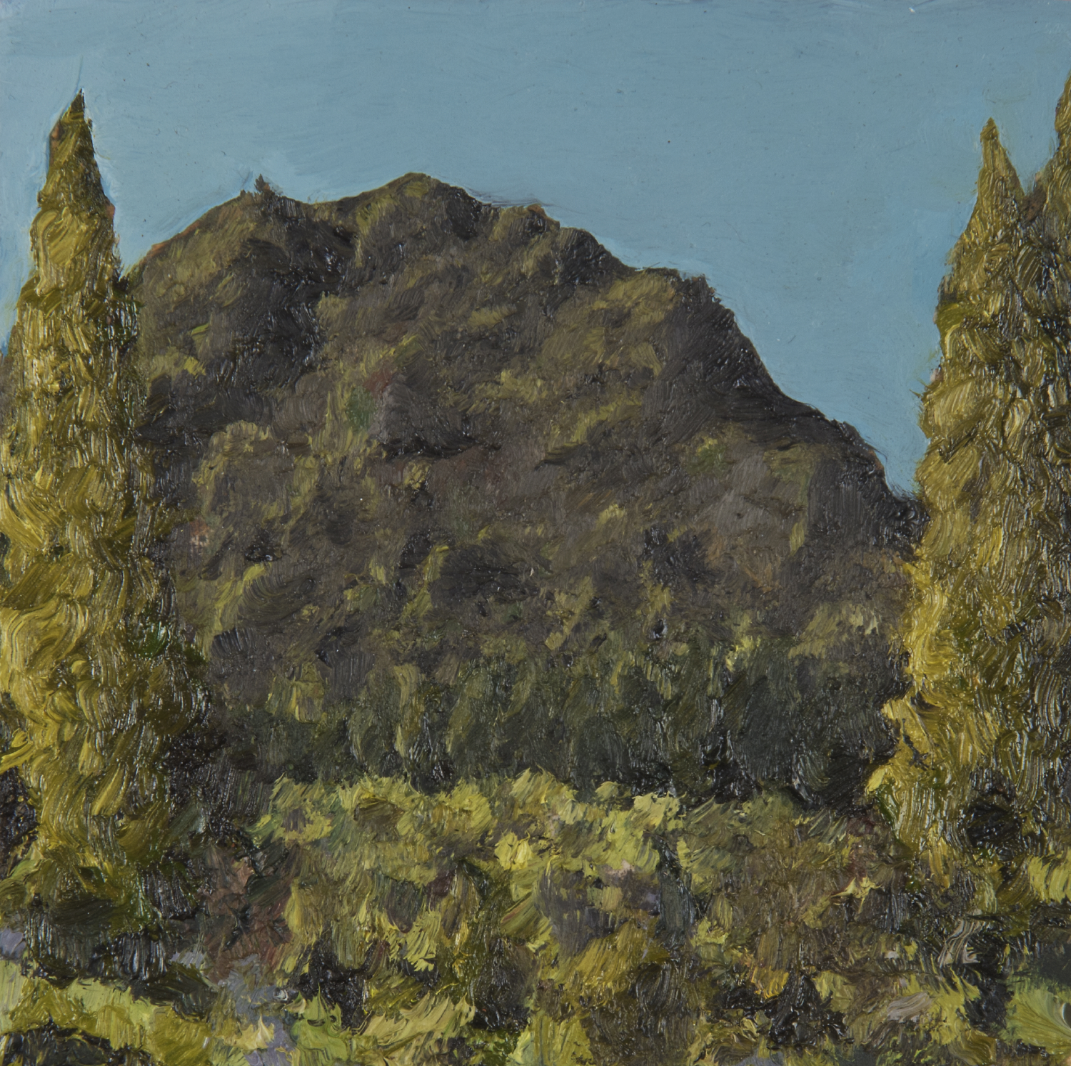 "Mt. Tamalpais near Old Railroad Grade  Oil on panel 4"" x 4"" 2018"
