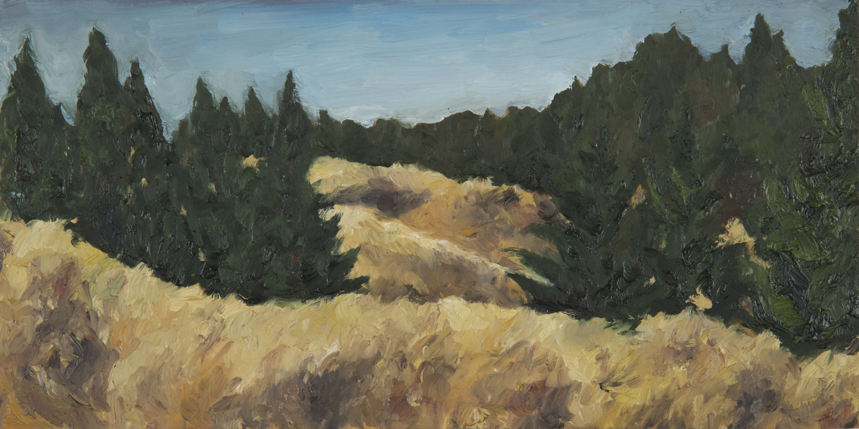 "Bolinas Ridge  Oil on panel 6"" x 12"" 2016"