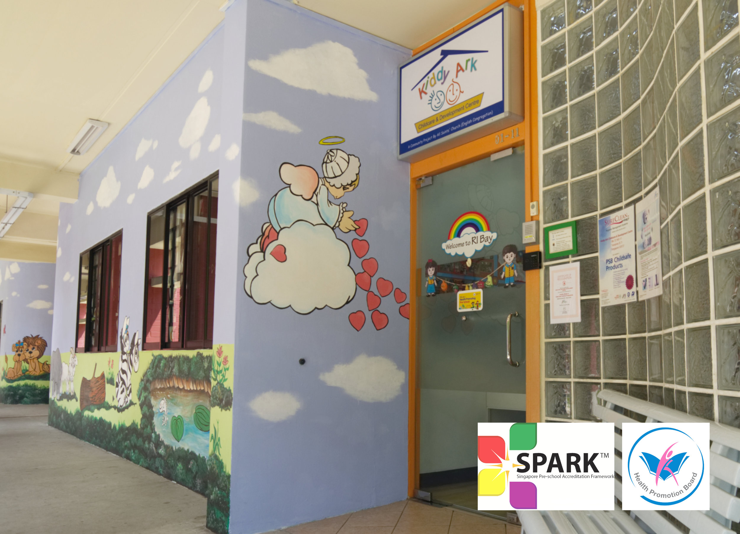 Kiddy ArkChildcare Centre - Our preschool was established in August 2000 by All Saints' Church (English). We are registered with the Early Childhood Development Agency (ECDA), and certified under both the Health Promoting Pre-School (HPPS) Accreditation Framework as well as the Singapore Preschool Accreditation Framework (SPARK).