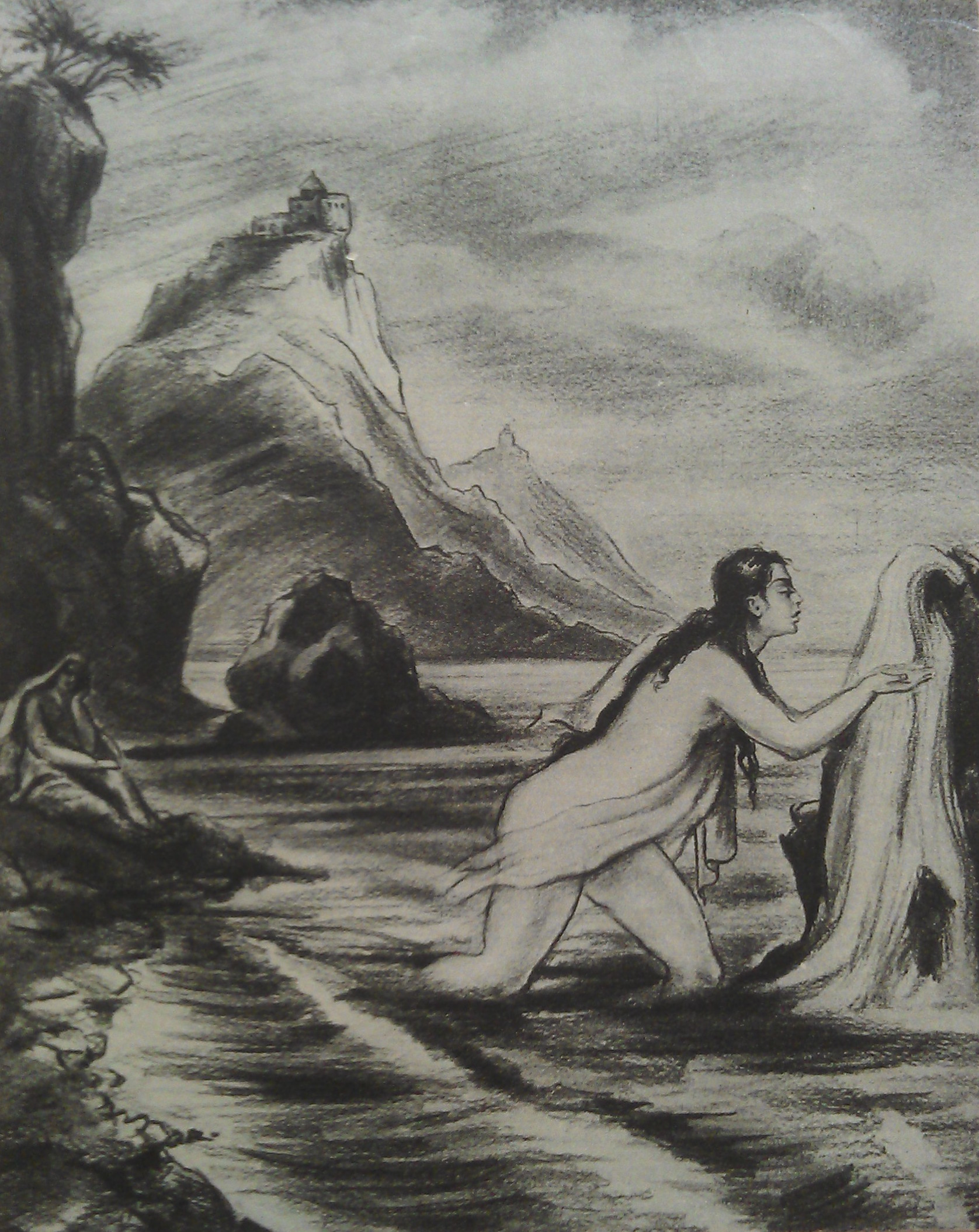 Мгер Абегян- Цовинар, пьющая воду