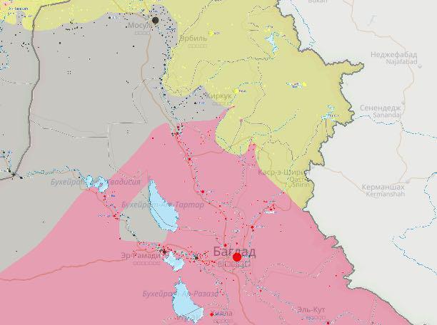 Карта приграничных территорий Ирака, Сирии и Турции. Серым помечены захваченные ИГ территории.