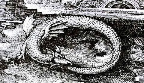 Уроборос - - змей, заглатывающий собственный хвост. Его изображение можно видеть на армянских миниатюрах, рельефах, орнаментах. Мы хотим, чтобы армяне воспрянули духом, и заменили свое чувство глубокой скорбиощущением победы над всеми вызовами, обрушившимися на наш народ в течение всей истории, и особенно - в начале ХХ века.