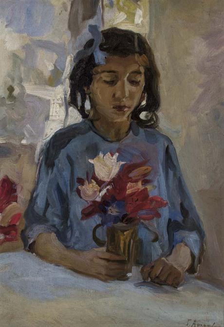 Дочь художника с цветами 1915
