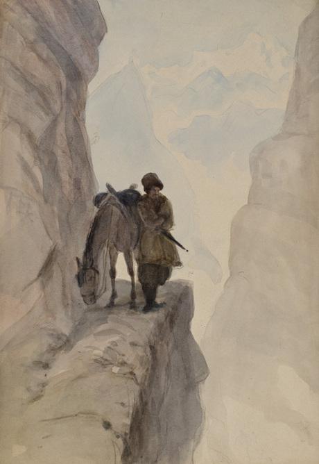 Всадник на краю обрыва, акварель
