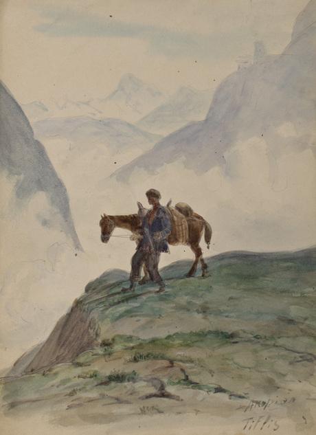 Крестьянин с конем, акварель
