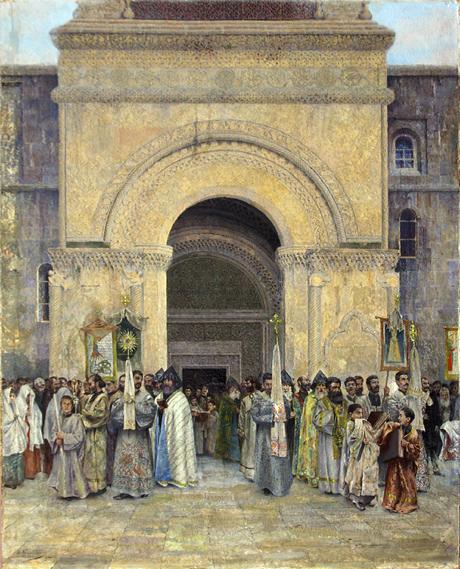 Выход Крестного хода из Эчмиадзинского собора 1895