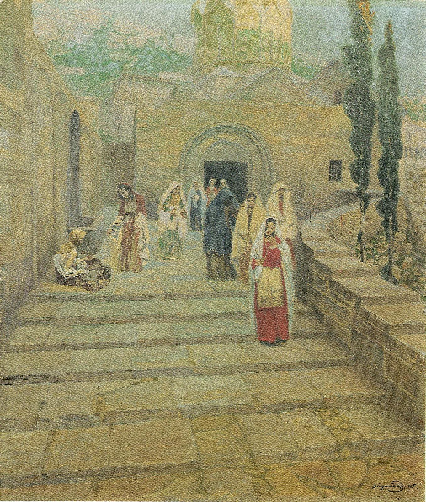 Женщины, покидающие храм в Ани