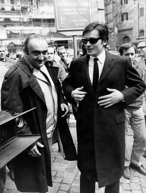 Анри Вернёй и Ален Делонна съемках фильма «Сицилийский клан»
