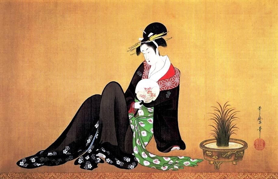 Образы женщин Утамаро, чьи погрудные композиции впервые вошли в японскую живопись, в творчестве Гаянэ обернулись жонглерессами, актрисами, зеркальными цветочницами.