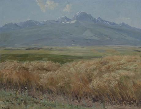 Вид на Арагац из одноименной деревне. Нива 1953.jpg